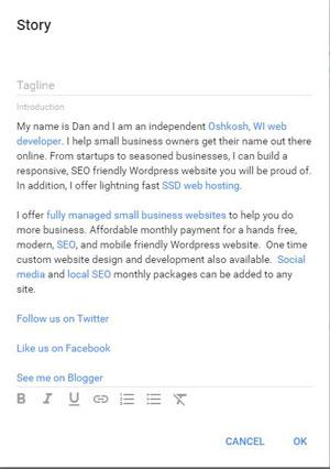Edit the business description on Google Plus
